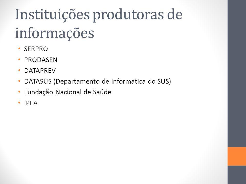Instituições produtoras de informações SERPRO PRODASEN DATAPREV DATASUS (Departamento de Informática do SUS) Fundação Nacional de Saúde IPEA