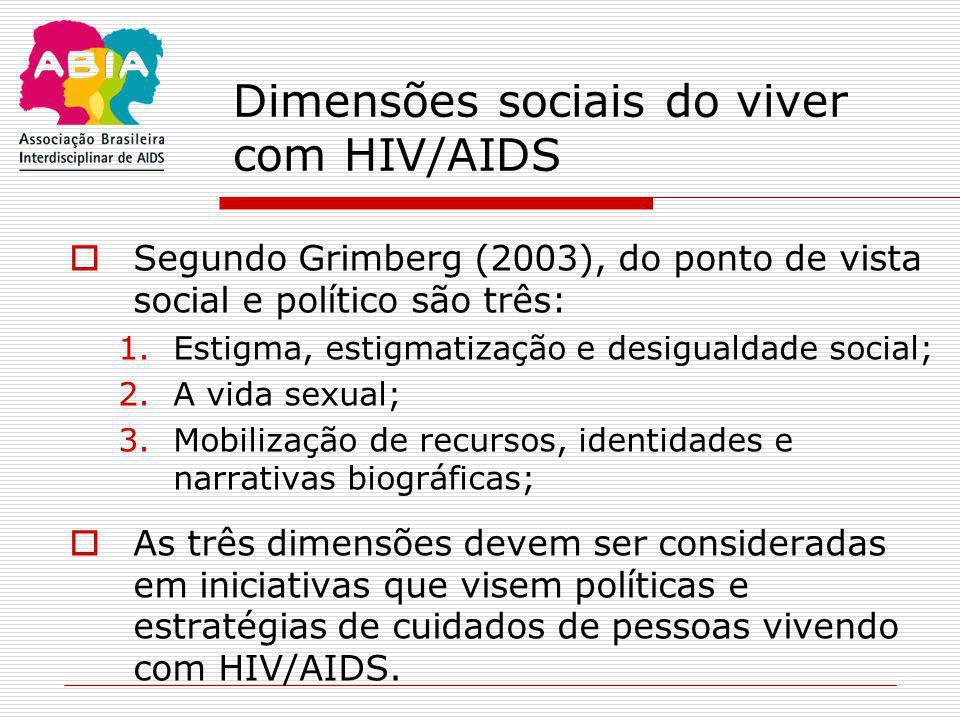 Dimensões sociais do viver com HIV/AIDS  Segundo Grimberg (2003), do ponto de vista social e político são três: 1.Estigma, estigmatização e desiguald