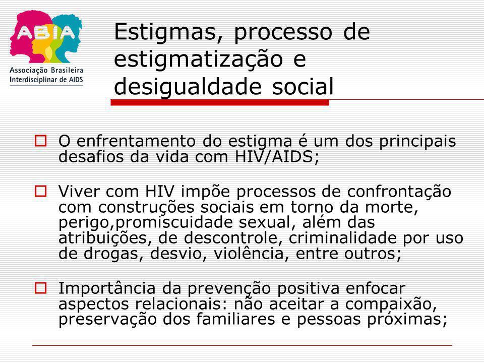 Estigmas, processo de estigmatização e desigualdade social  O enfrentamento do estigma é um dos principais desafios da vida com HIV/AIDS;  Viver com