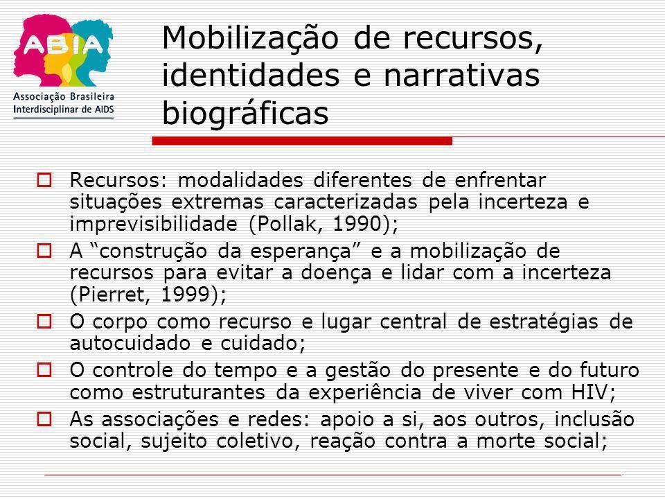 Mobilização de recursos, identidades e narrativas biográficas  Recursos: modalidades diferentes de enfrentar situações extremas caracterizadas pela i