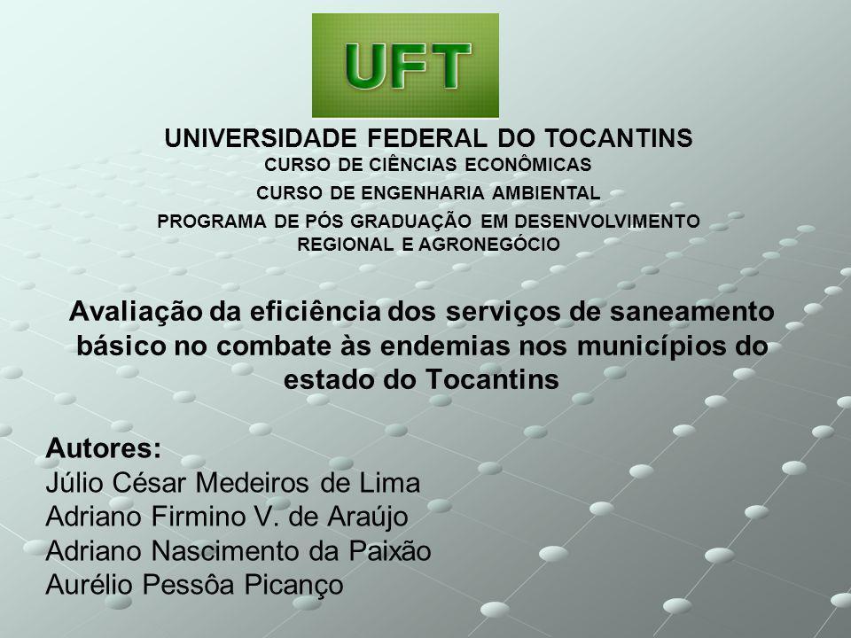 Avaliação da eficiência dos serviços de saneamento básico no combate às endemias nos municípios do estado do Tocantins Autores: Júlio César Medeiros de Lima Adriano Firmino V.