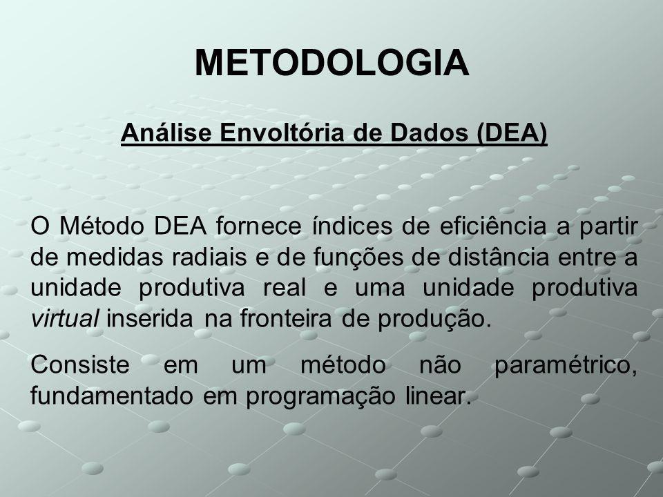 METODOLOGIA Análise Envoltória de Dados (DEA) O Método DEA fornece índices de eficiência a partir de medidas radiais e de funções de distância entre a unidade produtiva real e uma unidade produtiva virtual inserida na fronteira de produção.