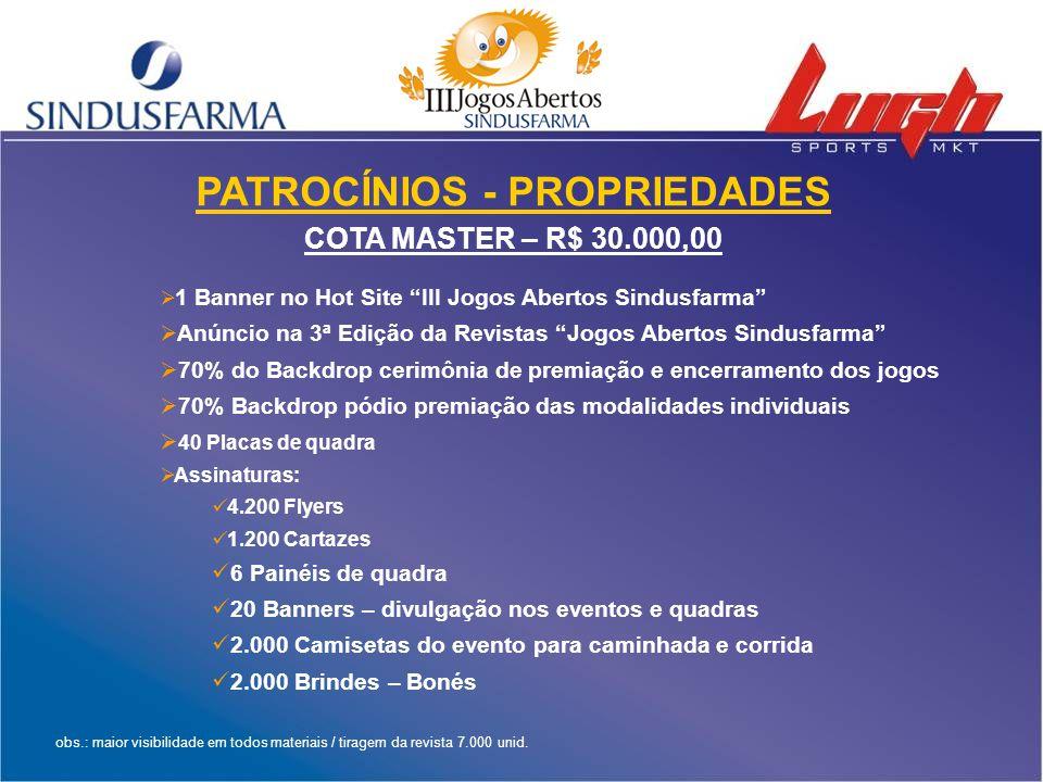 """PATROCÍNIOS - PROPRIEDADES COTA MASTER – R$ 30.000,00  1 Banner no Hot Site """"III Jogos Abertos Sindusfarma""""  Anúncio na 3ª Edição da Revistas """"Jogos"""