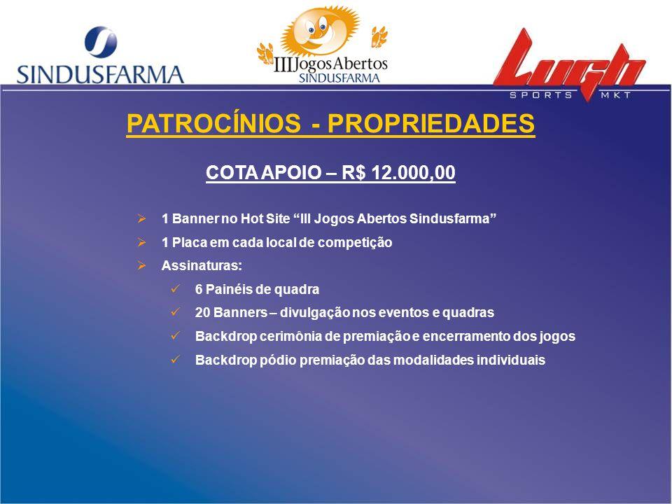 """PATROCÍNIOS - PROPRIEDADES COTA APOIO – R$ 12.000,00  1 Banner no Hot Site """"III Jogos Abertos Sindusfarma""""  1 Placa em cada local de competição  As"""
