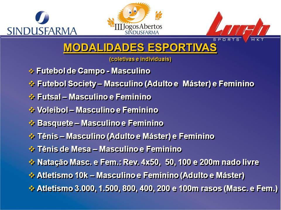 MODALIDADES ESPORTIVAS (coletivas e individuais)  Futebol de Campo - Masculino  Futebol Society – Masculino (Adulto e Máster) e Feminino  Futsal –