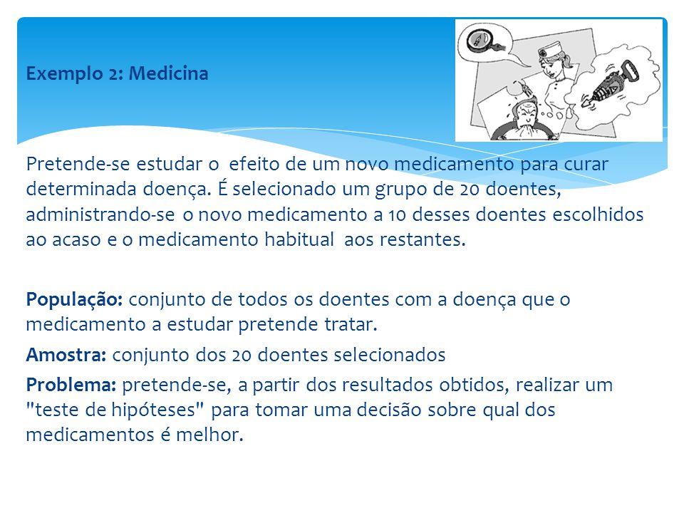 Exemplo 3: Controle de Qualidade O administrador de uma fábrica de parafusos pretende assegurar-se de que a percentagem de peças defeituosas não excede um determinado valor, a partir do qual determinada encomenda poderia ser rejeitada.