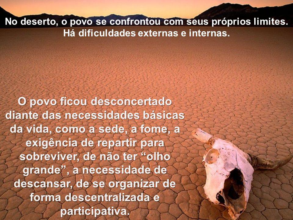 No deserto, o povo se confrontou com seus próprios limites. Há dificuldades externas e internas. O povo ficou desconcertado diante das necessidades bá