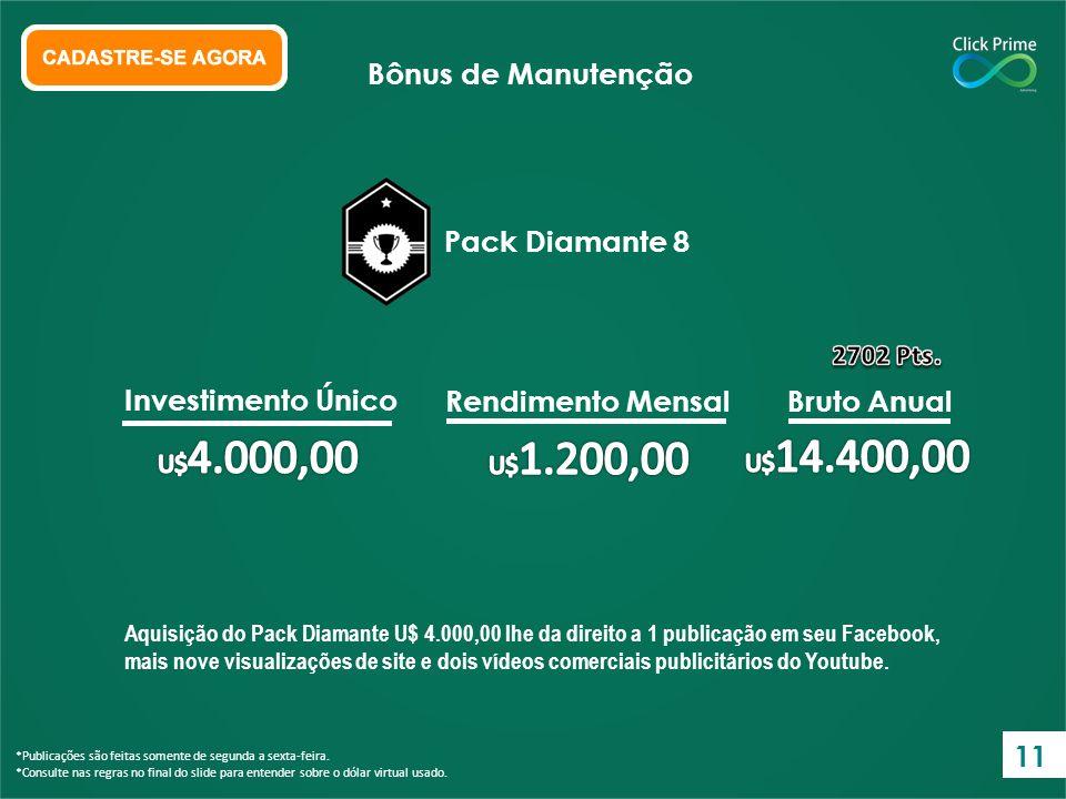 Aquisição do Pack Diamante U$ 4.000,00 lhe da direito a 1 publicação em seu Facebook, mais nove visualizações de site e dois vídeos comerciais publici