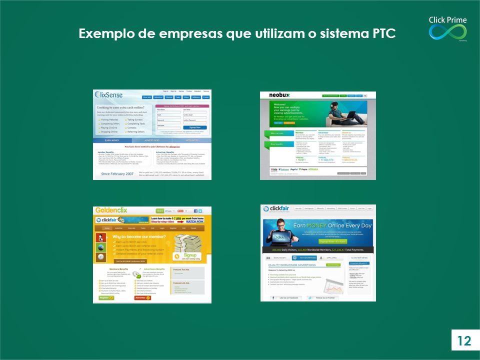 Exemplo de empresas que utilizam o sistema PTC 12
