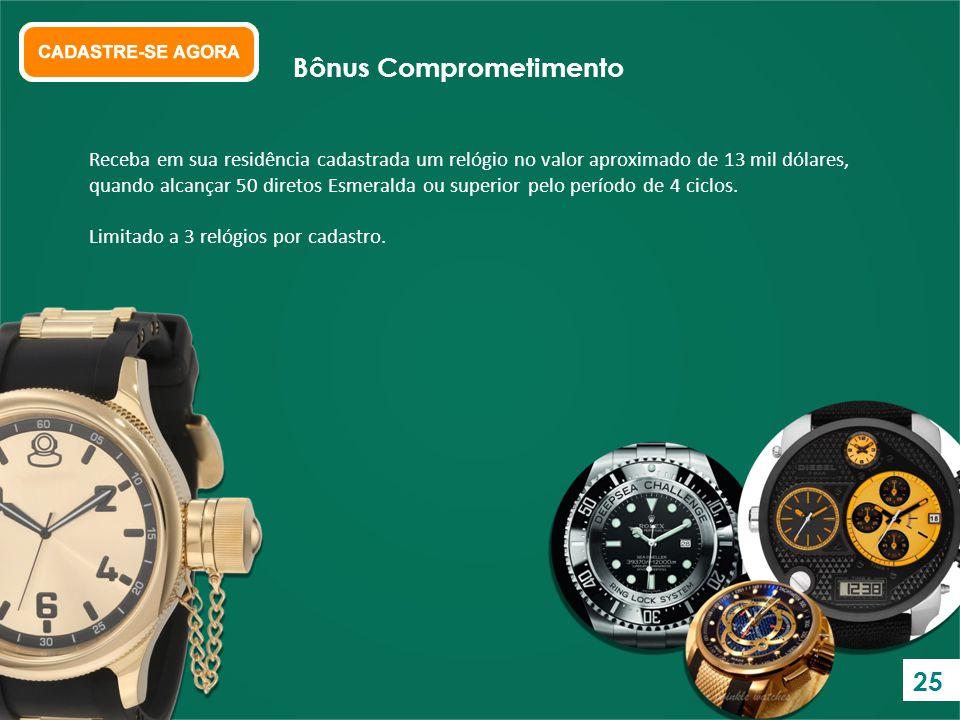 Receba em sua residência cadastrada um relógio no valor aproximado de 13 mil dólares, quando alcançar 50 diretos Esmeralda ou superior pelo período de