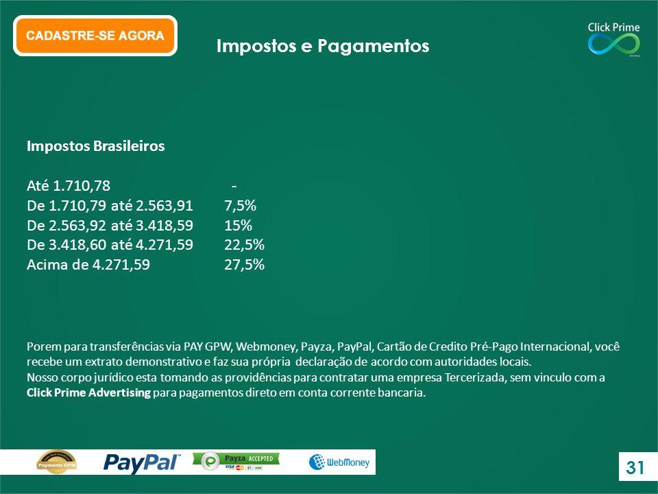 Impostos Brasileiros Até 1.710,78 - De 1.710,79 até 2.563,917,5% De 2.563,92 até 3.418,5915% De 3.418,60 até 4.271,5922,5% Acima de 4.271,5927,5% Impo