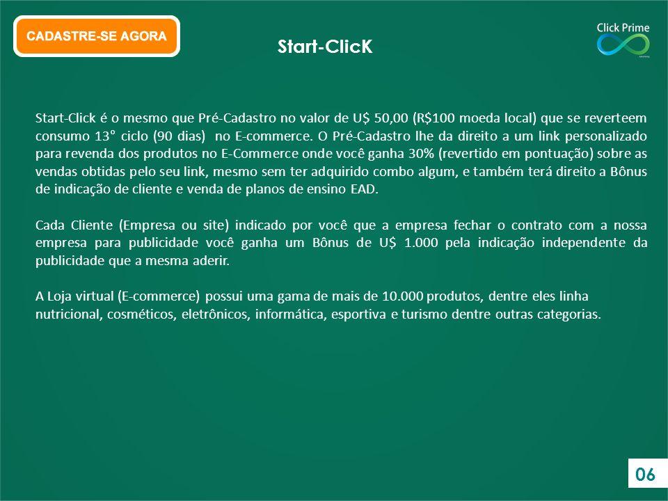 Start-Click é o mesmo que Pré-Cadastro no valor de U$ 50,00 (R$100 moeda local) que se reverteem consumo 13° ciclo (90 dias) no E-commerce. O Pré-Cada