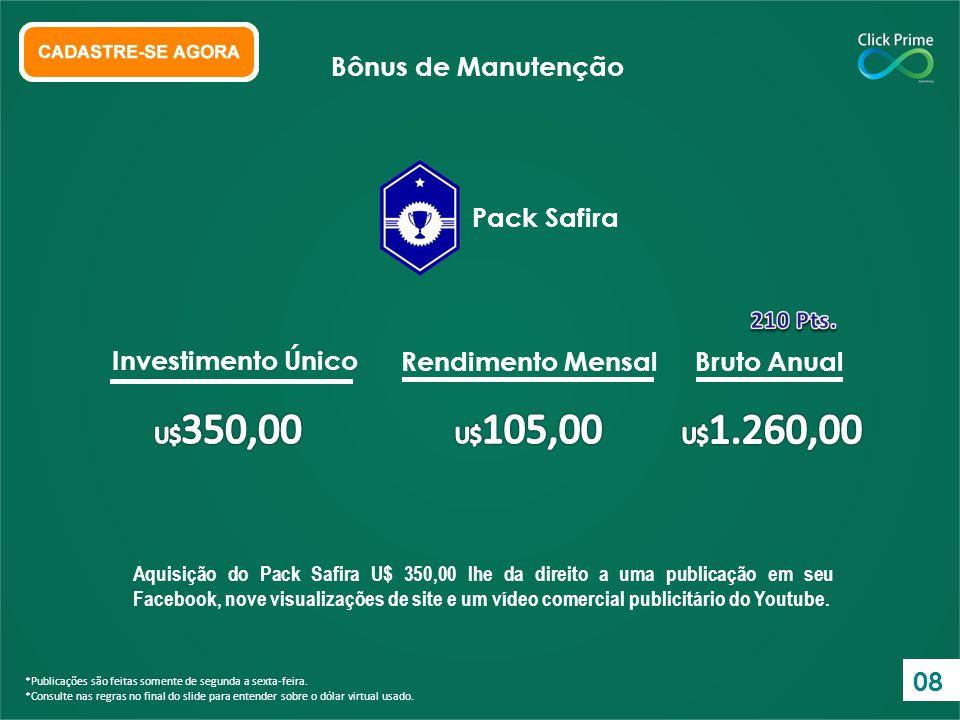 Aquisição do Pack Esmeralda U$ 900,00 lhe da direito a 1 publicação em seu Facebook, mais nove visualizações de site e um vídeo comercial publicitário do Youtube.
