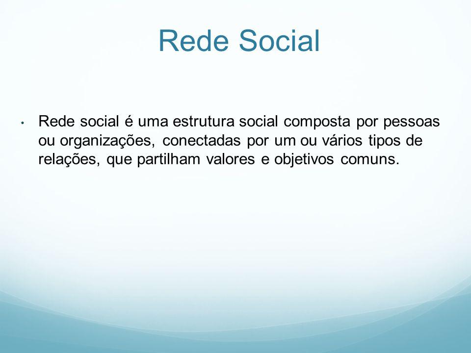 Rede Social Rede social é uma estrutura social composta por pessoas ou organizações, conectadas por um ou vários tipos de relações, que partilham valores e objetivos comuns.