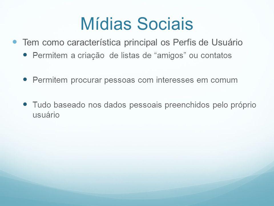 Mídias Sociais Tem como característica principal os Perfis de Usuário Permitem a criação de listas de amigos ou contatos Permitem procurar pessoas com interesses em comum Tudo baseado nos dados pessoais preenchidos pelo próprio usuário