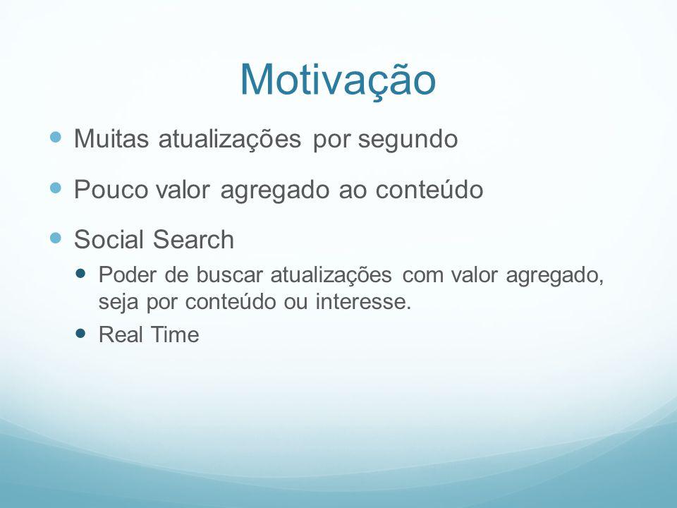 Motivação Muitas atualizações por segundo Pouco valor agregado ao conteúdo Social Search Poder de buscar atualizações com valor agregado, seja por conteúdo ou interesse.