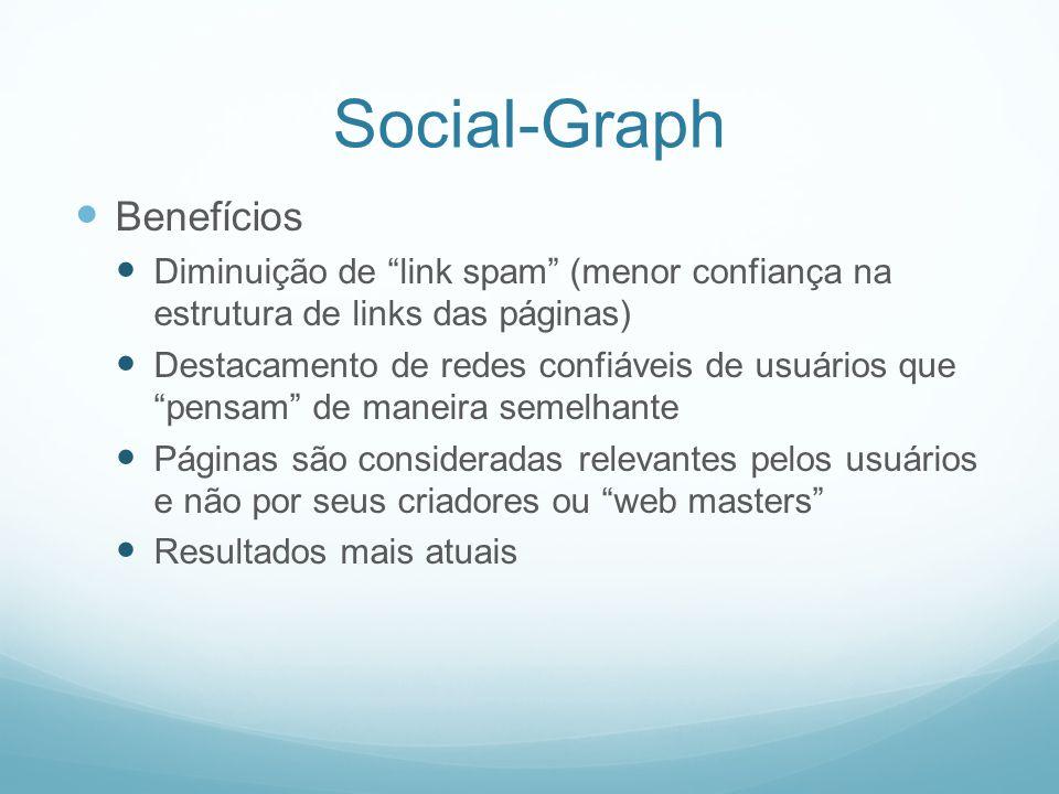 Social-Graph Benefícios Diminuição de link spam (menor confiança na estrutura de links das páginas) Destacamento de redes confiáveis de usuários que pensam de maneira semelhante Páginas são consideradas relevantes pelos usuários e não por seus criadores ou web masters Resultados mais atuais