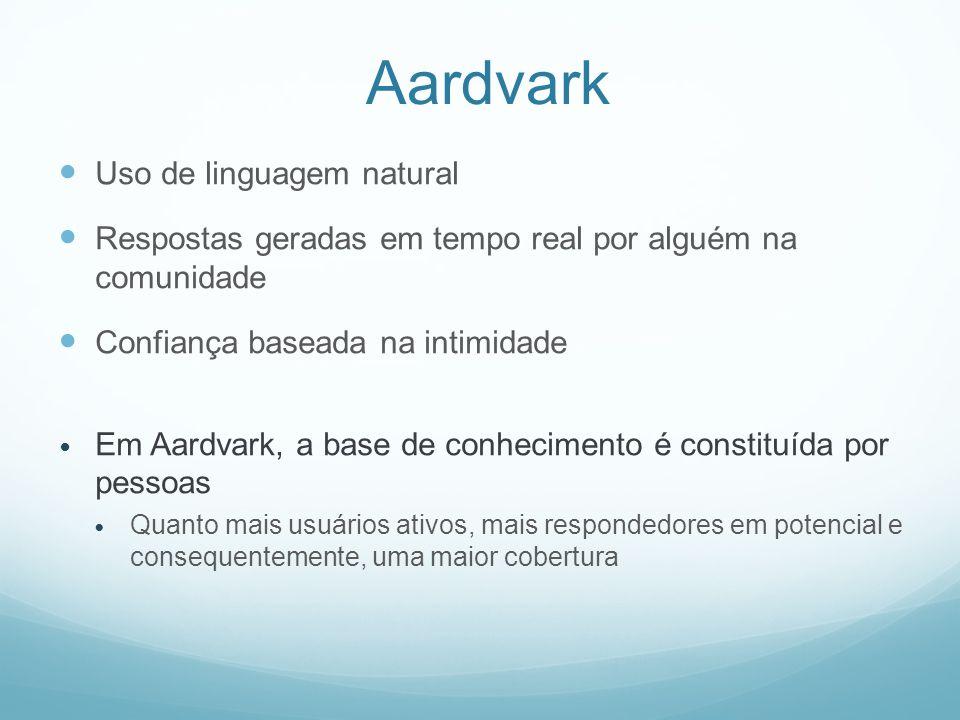 Aardvark Uso de linguagem natural Respostas geradas em tempo real por alguém na comunidade Confiança baseada na intimidade Em Aardvark, a base de conhecimento é constituída por pessoas Quanto mais usuários ativos, mais respondedores em potencial e consequentemente, uma maior cobertura