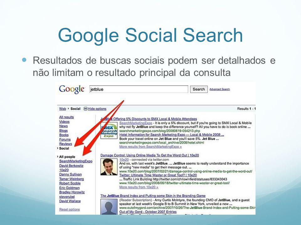 Google Social Search Resultados de buscas sociais podem ser detalhados e não limitam o resultado principal da consulta