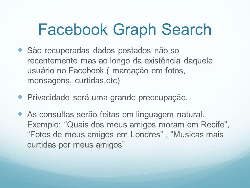 Facebook Graph Search São recuperadas dados postados não so recentemente mas ao longo da existência daquele usuário no Facebook.( marcação em fotos, mensagens, curtidas,etc) Privacidade será uma grande preocupação.