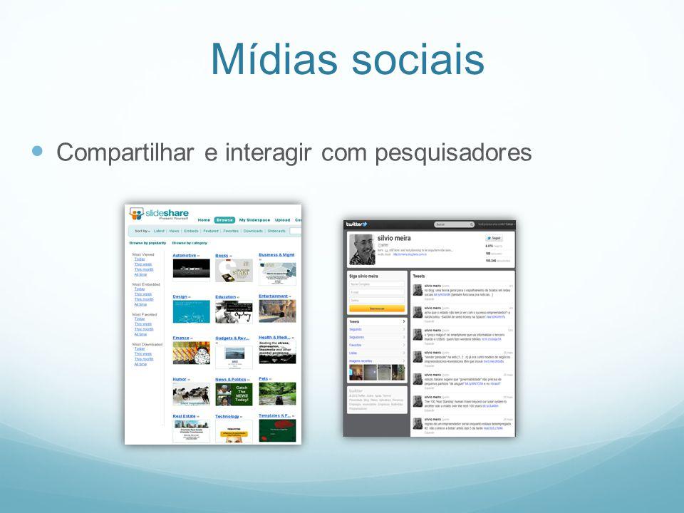 Mídias sociais Compartilhar e interagir com pesquisadores