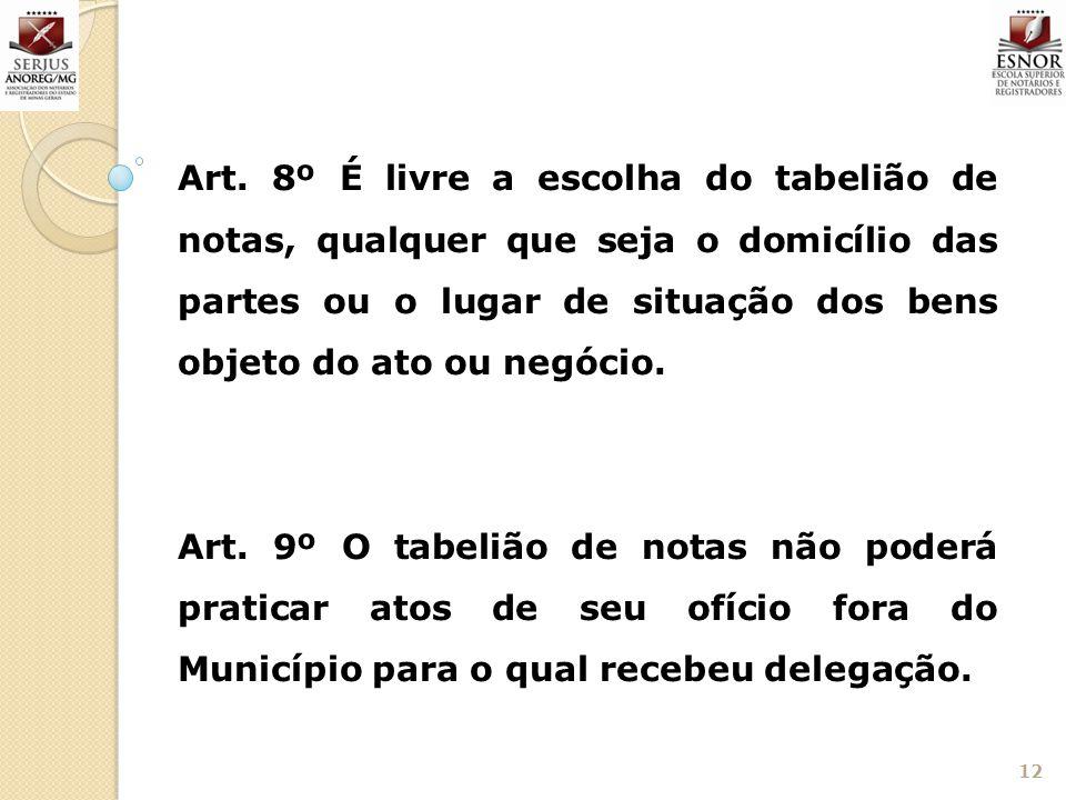 12 Art. 8º É livre a escolha do tabelião de notas, qualquer que seja o domicílio das partes ou o lugar de situação dos bens objeto do ato ou negócio.