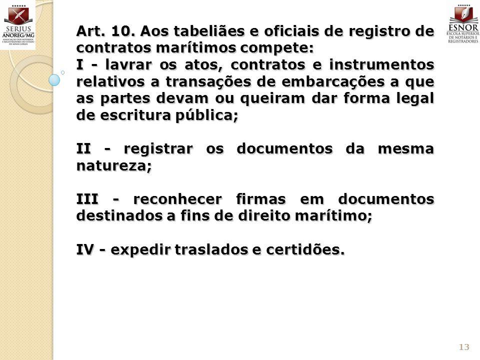 13 Art. 10. Aos tabeliães e oficiais de registro de contratos marítimos compete: I - lavrar os atos, contratos e instrumentos relativos a transações d