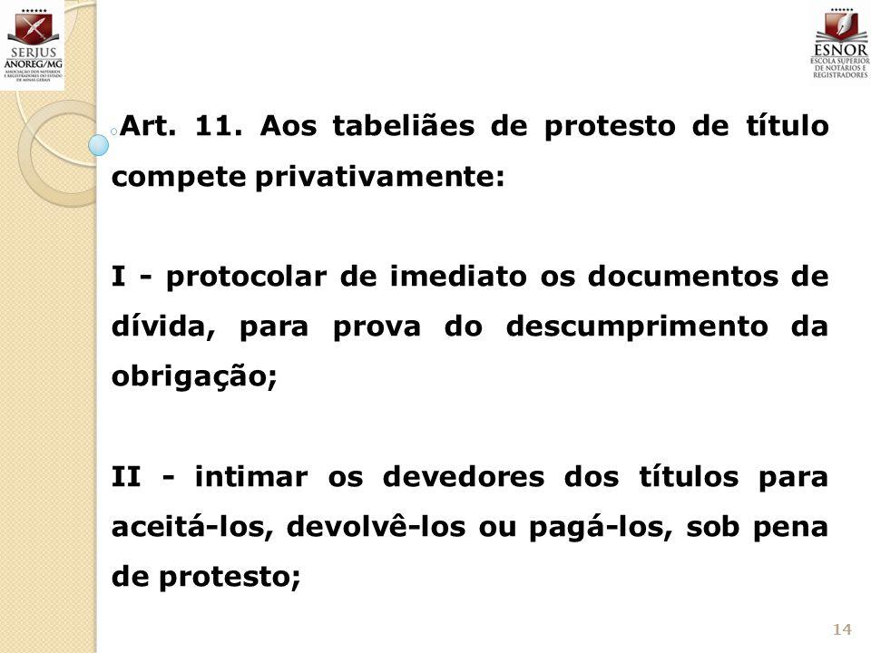 14 Art. 11. Aos tabeliães de protesto de título compete privativamente: I - protocolar de imediato os documentos de dívida, para prova do descumprimen