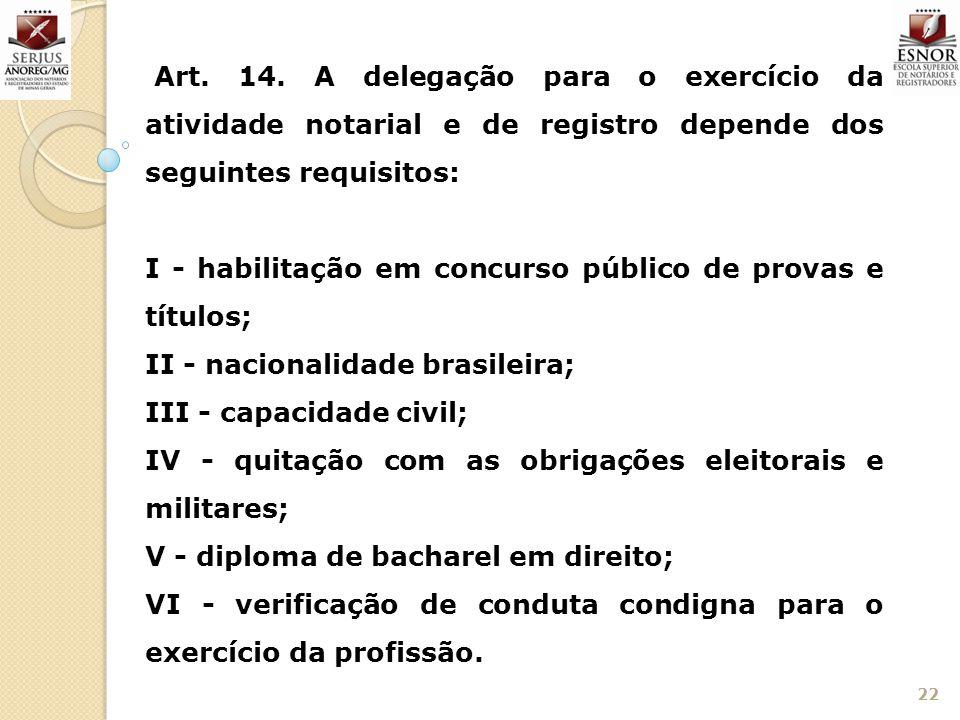 22 Art. 14. A delegação para o exercício da atividade notarial e de registro depende dos seguintes requisitos: I - habilitação em concurso público de