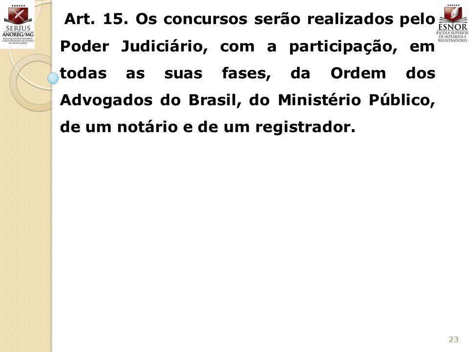 23 Art. 15. Os concursos serão realizados pelo Poder Judiciário, com a participação, em todas as suas fases, da Ordem dos Advogados do Brasil, do Mini