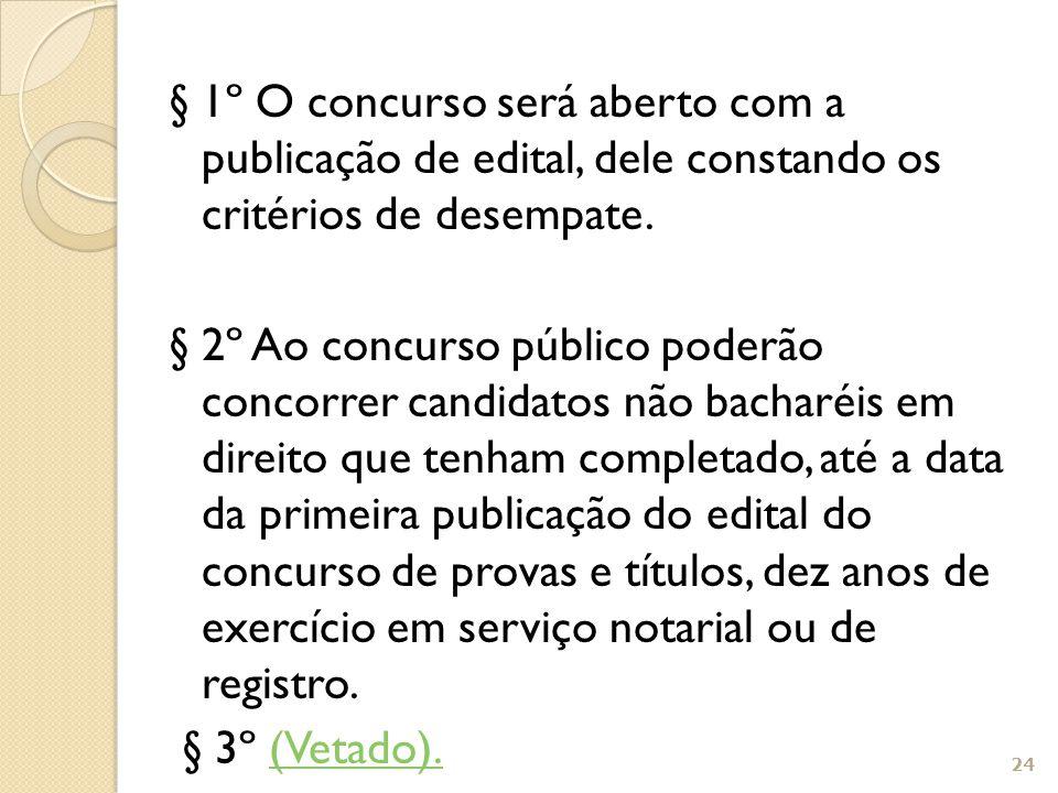 § 1º O concurso será aberto com a publicação de edital, dele constando os critérios de desempate. § 2º Ao concurso público poderão concorrer candidato
