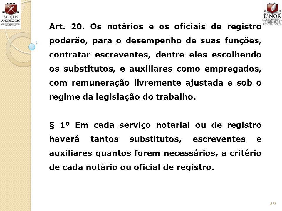 29 Art. 20. Os notários e os oficiais de registro poderão, para o desempenho de suas funções, contratar escreventes, dentre eles escolhendo os substit