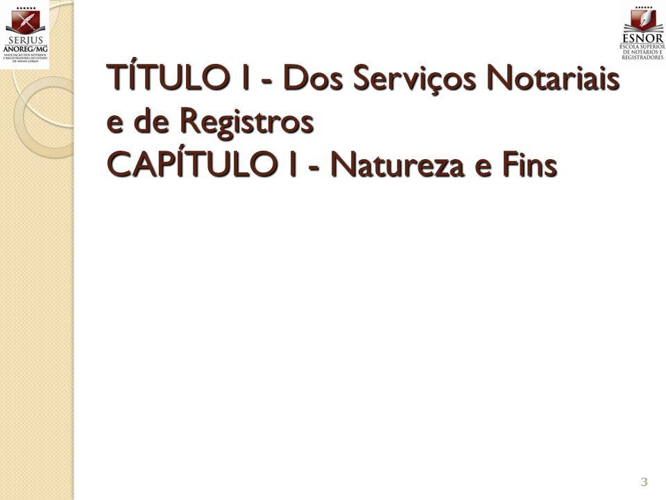 TÍTULO I - Dos Serviços Notariais e de Registros CAPÍTULO I - Natureza e Fins 3