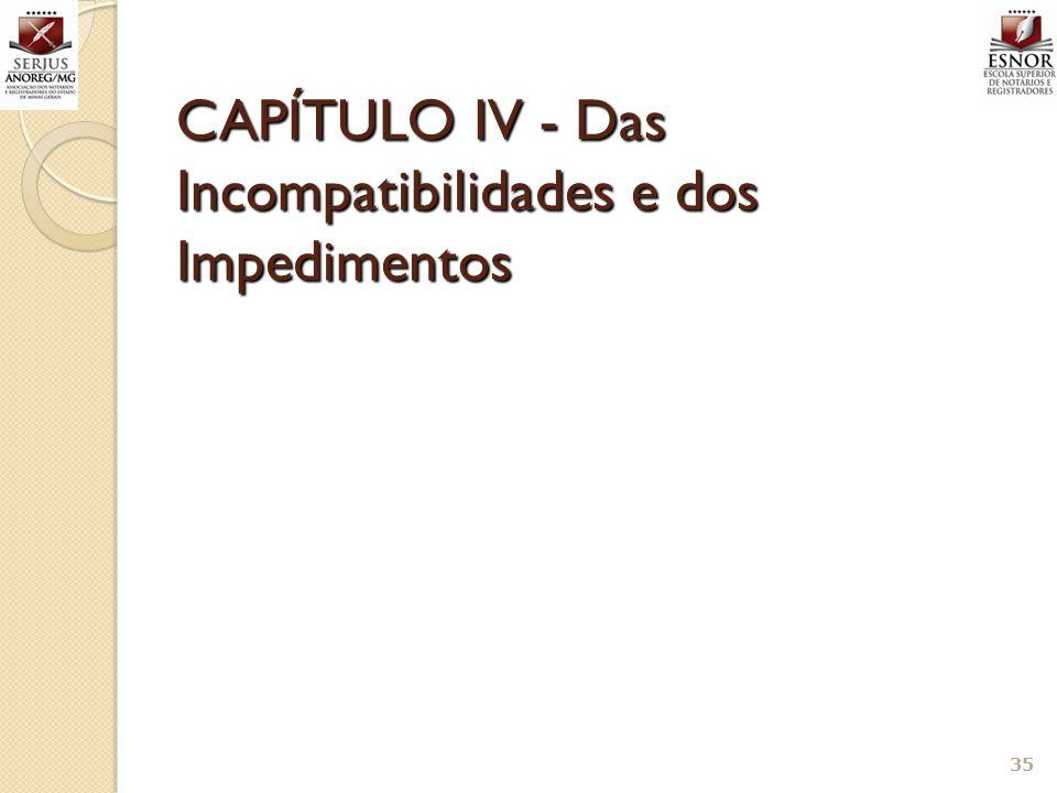 CAPÍTULO IV - Das Incompatibilidades e dos Impedimentos 35
