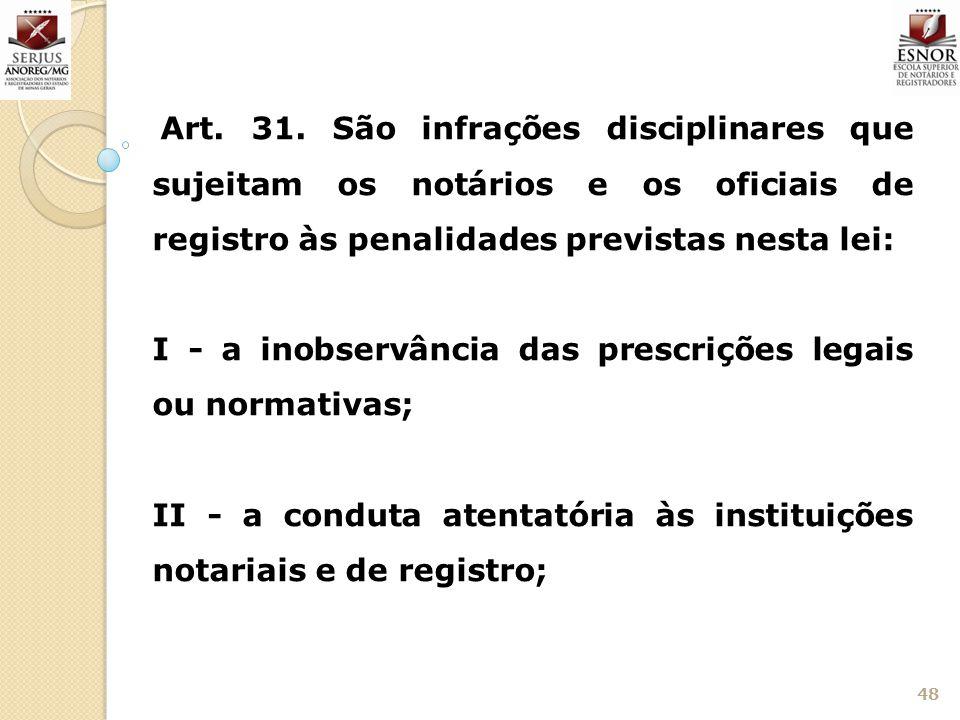 48 Art. 31. São infrações disciplinares que sujeitam os notários e os oficiais de registro às penalidades previstas nesta lei: I - a inobservância das