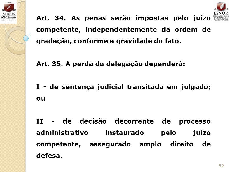 52 Art. 34. As penas serão impostas pelo juízo competente, independentemente da ordem de gradação, conforme a gravidade do fato. Art. 35. A perda da d
