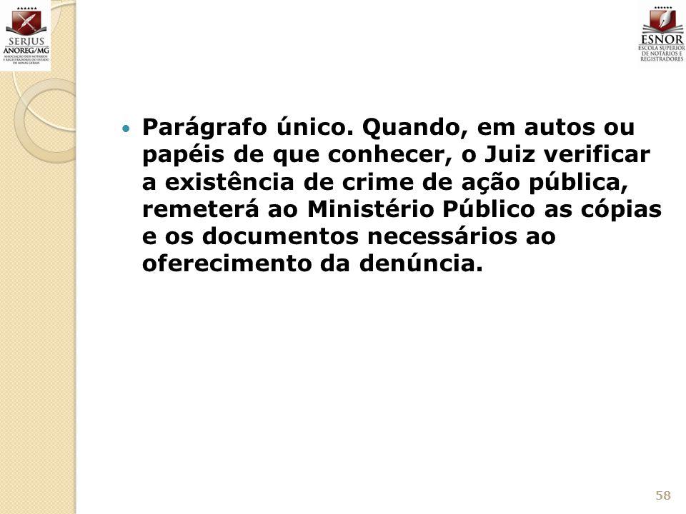 Parágrafo único. Quando, em autos ou papéis de que conhecer, o Juiz verificar a existência de crime de ação pública, remeterá ao Ministério Público as