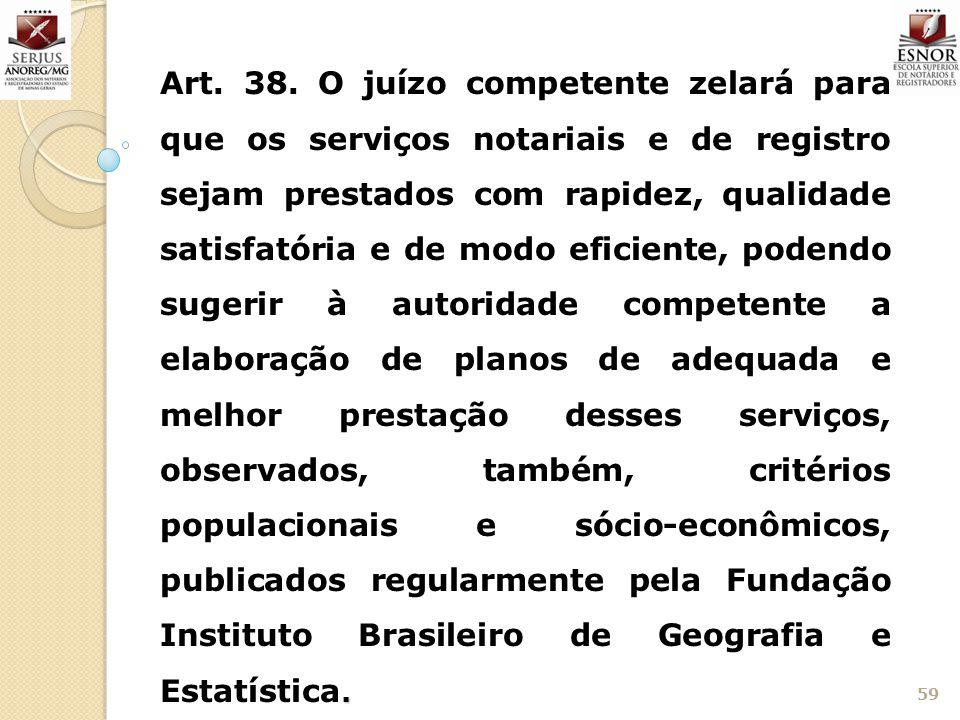 59. Art. 38. O juízo competente zelará para que os serviços notariais e de registro sejam prestados com rapidez, qualidade satisfatória e de modo efic