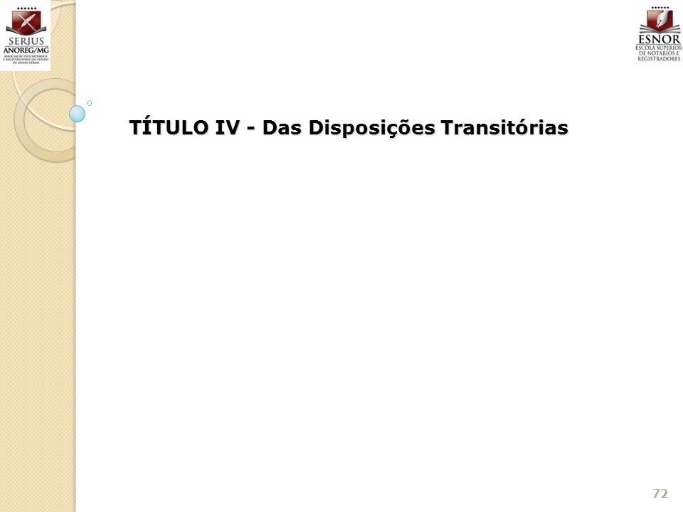 72 TÍTULO IV - Das Disposições Transitórias