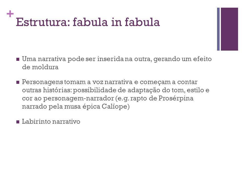 + Estrutura: fabula in fabula Uma narrativa pode ser inserida na outra, gerando um efeito de moldura Personagens tomam a voz narrativa e começam a con