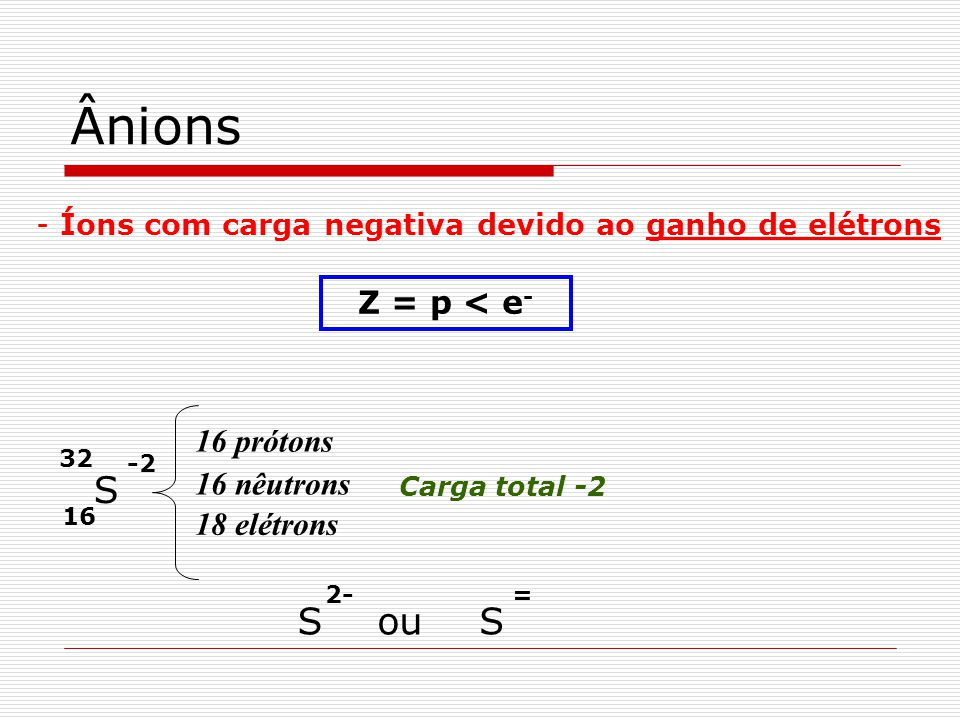 Ânions - Íons com carga negativa devido ao ganho de elétrons Z = p < e - 16 32 S 16 prótons 16 nêutrons 18 elétrons Carga total -2 -2 S 2- ouS =