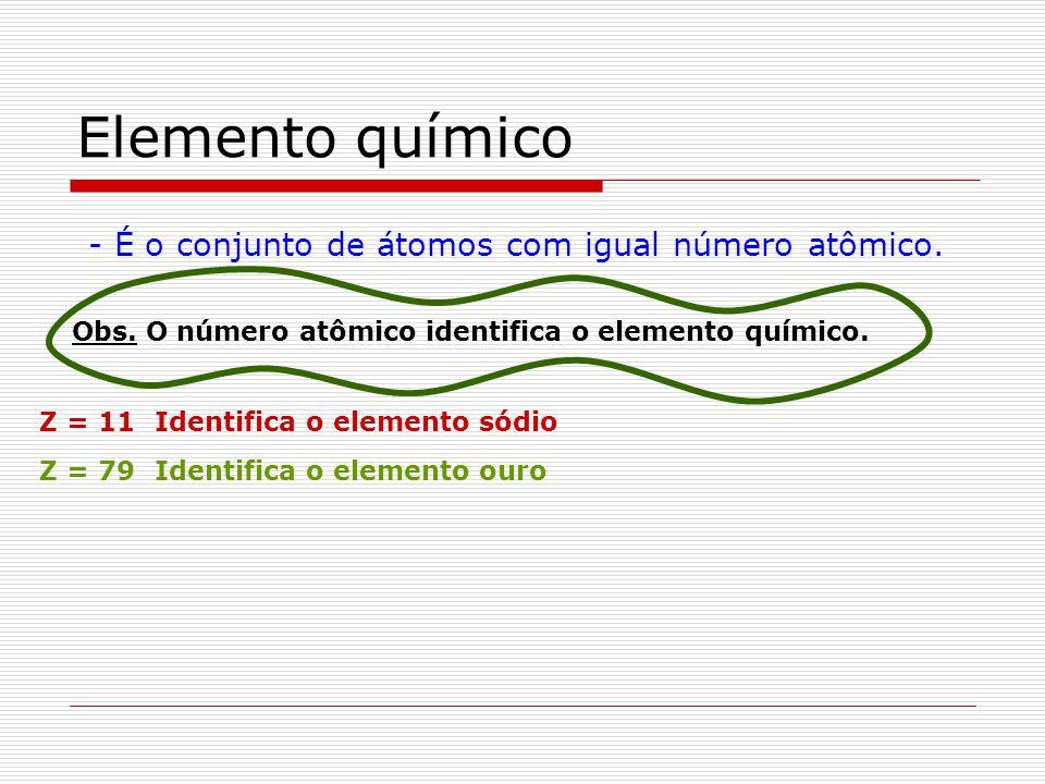 Elemento químico - É o conjunto de átomos com igual número atômico. Obs. O número atômico identifica o elemento químico. Z = 11Identifica o elemento s