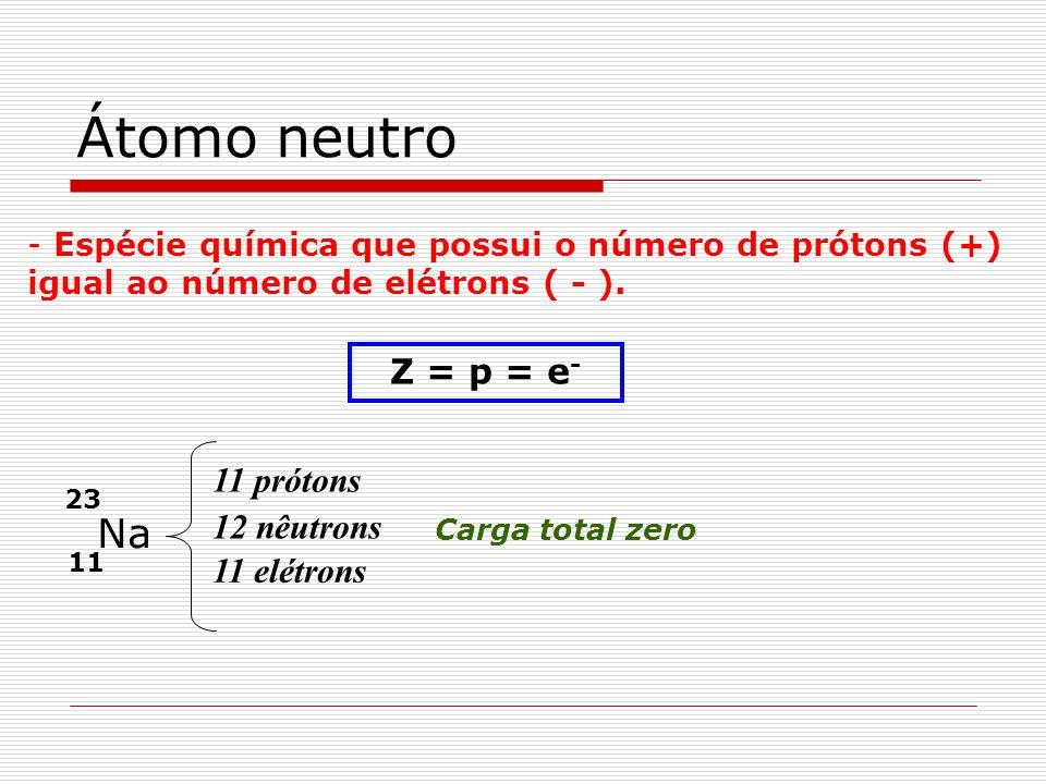 Átomo neutro - Espécie química que possui o número de prótons (+) igual ao número de elétrons ( - ). Z = p = e - 11 23 Na 11 prótons 12 nêutrons 11 el