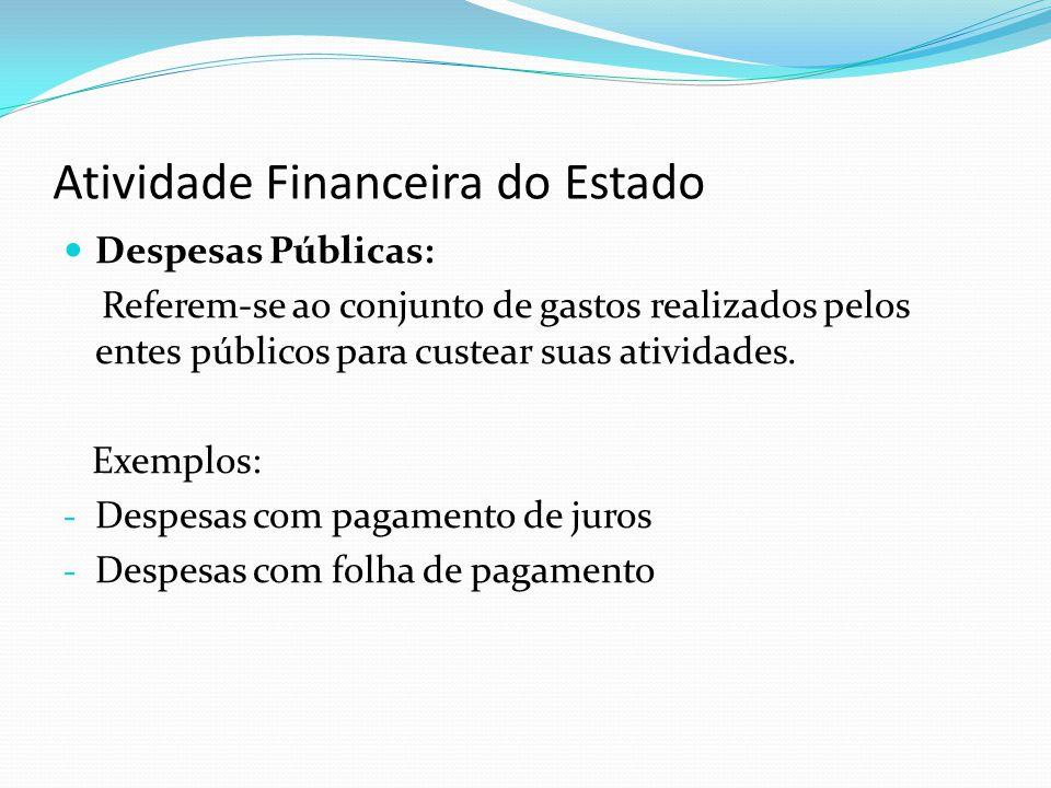 Atividade Financeira do Estado Despesas Públicas: Referem-se ao conjunto de gastos realizados pelos entes públicos para custear suas atividades. Exemp