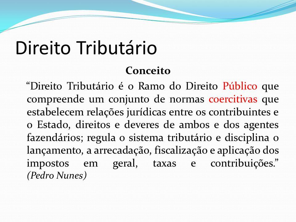 """Direito Tributário Conceito """"Direito Tributário é o Ramo do Direito Público que compreende um conjunto de normas coercitivas que estabelecem relações"""
