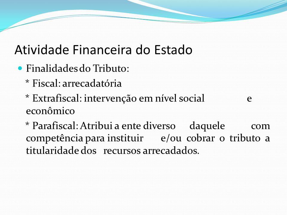 Atividade Financeira do Estado Finalidades do Tributo: * Fiscal: arrecadatória * Extrafiscal: intervenção em nível social e econômico * Parafiscal: At