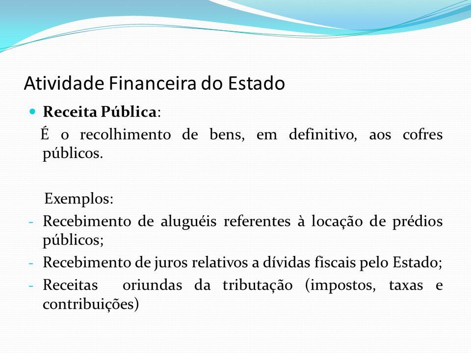 Atividade Financeira do Estado Receita Pública: É o recolhimento de bens, em definitivo, aos cofres públicos. Exemplos: - Recebimento de aluguéis refe
