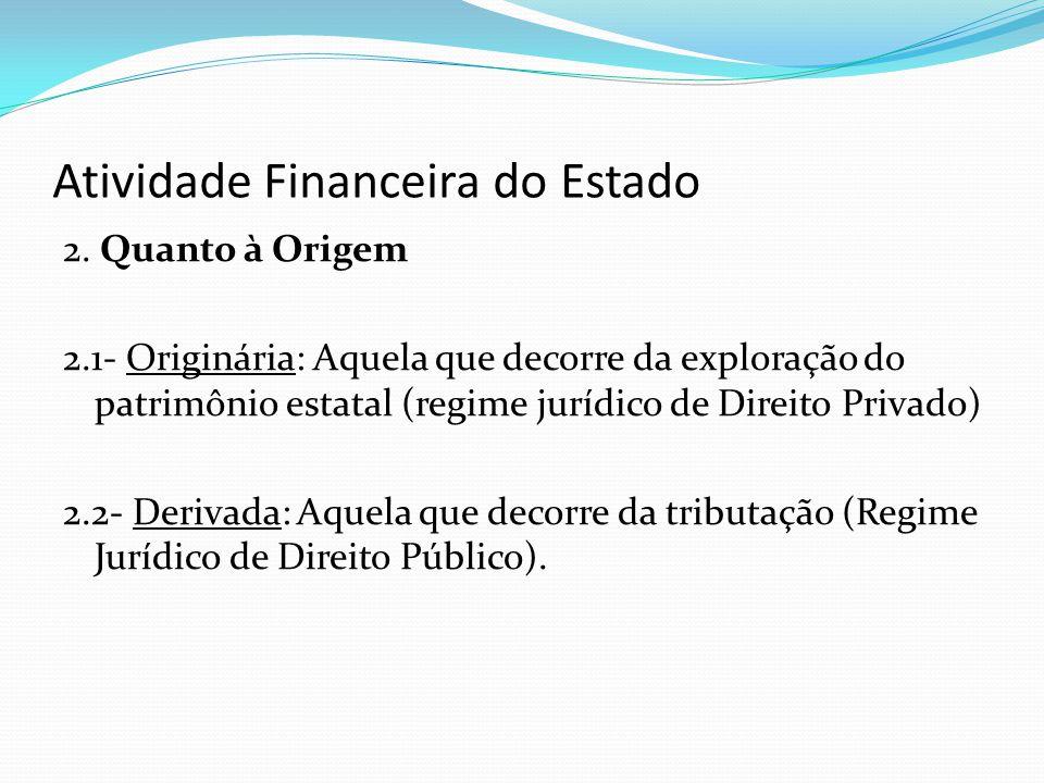 Atividade Financeira do Estado 2. Quanto à Origem 2.1- Originária: Aquela que decorre da exploração do patrimônio estatal (regime jurídico de Direito