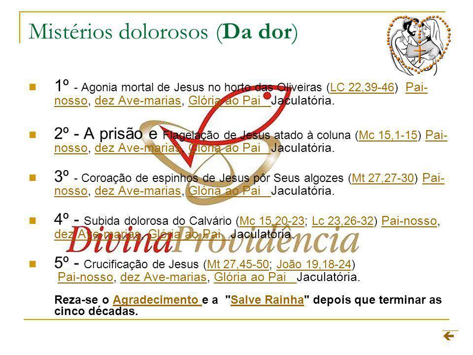 Mistérios dolorosos (Da dor) 1º - Agonia mortal de Jesus no horto das Oliveiras (LC 22,39-46) Pai- nosso, dez Ave-marias, Glória ao Pai Jaculatória.LC