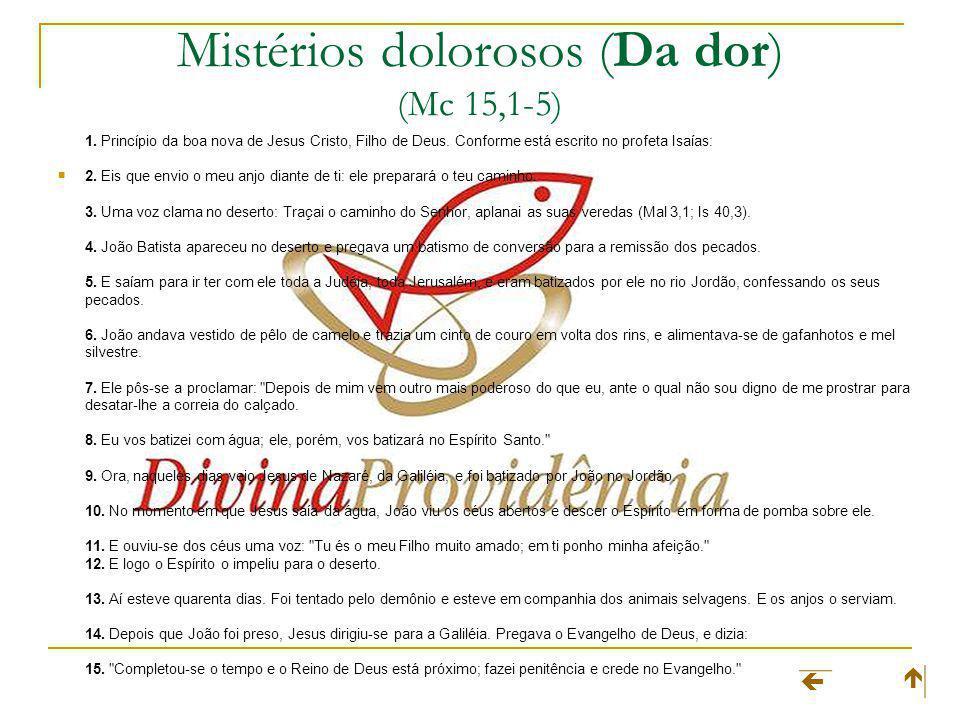 Mistérios dolorosos (Da dor) (Mc 15,1-5) 1.Princípio da boa nova de Jesus Cristo, Filho de Deus.